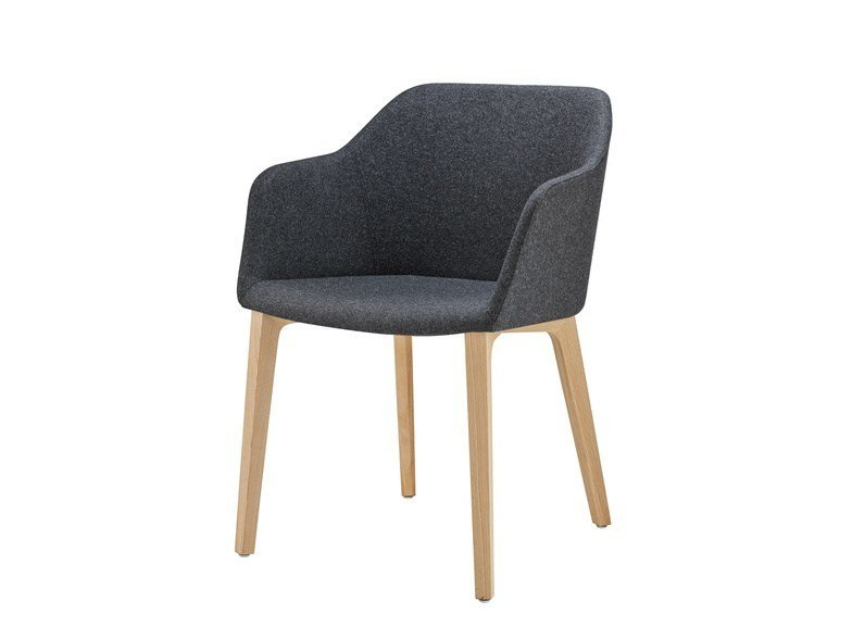 Upholstered fabric chair with armrests FINA CLUB | Fabric chair by Brunner
