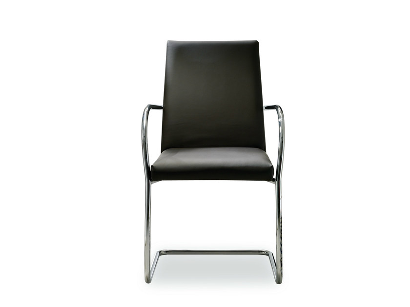Cantilever upholstered leather chair ESTA | Chair with armrests by Bontempi