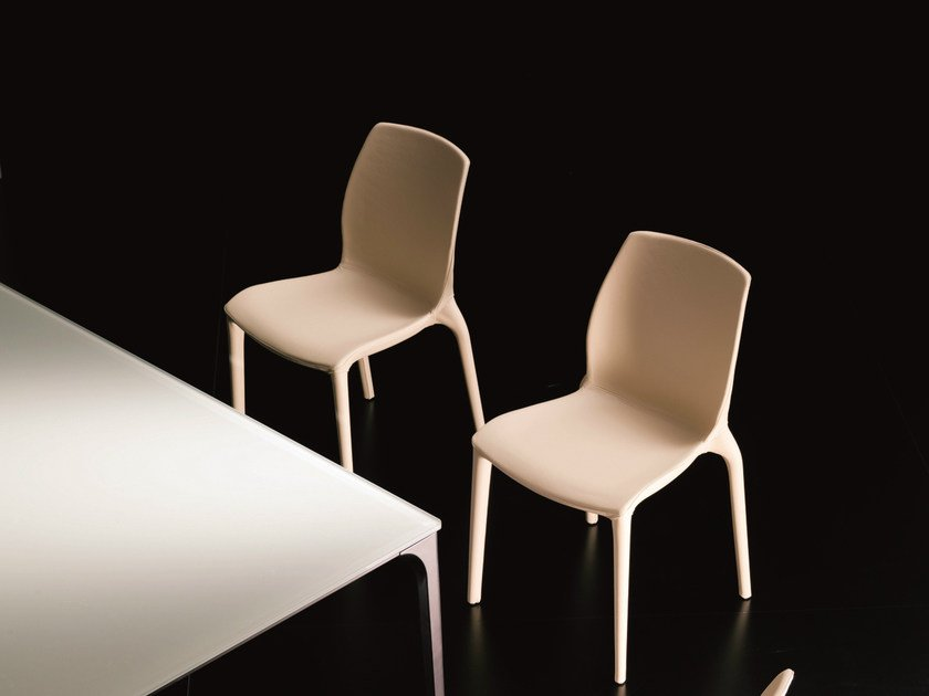 Stackable chair HIDRA   Leather chair by Bontempi