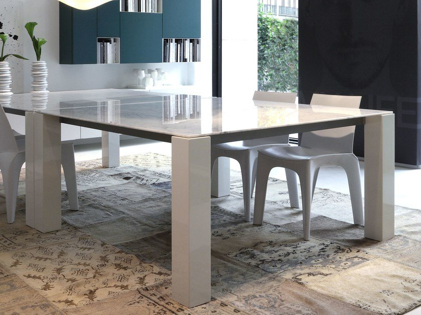 Square marble table DOLMEN DUE   Marble table by poliform