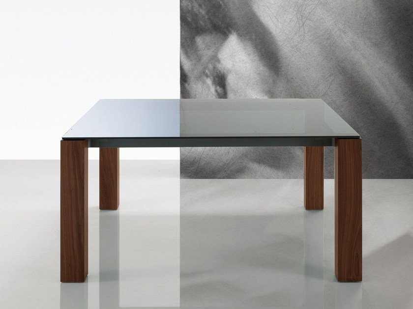 Square glass table DOLMEN DUE | Glass table by poliform