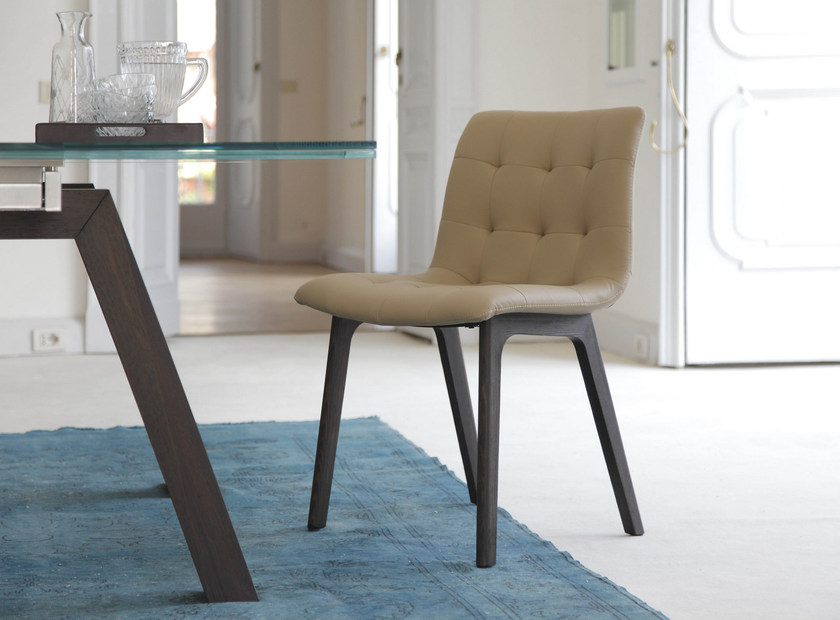Upholstered leather chair KUGA | Upholstered chair by Bontempi