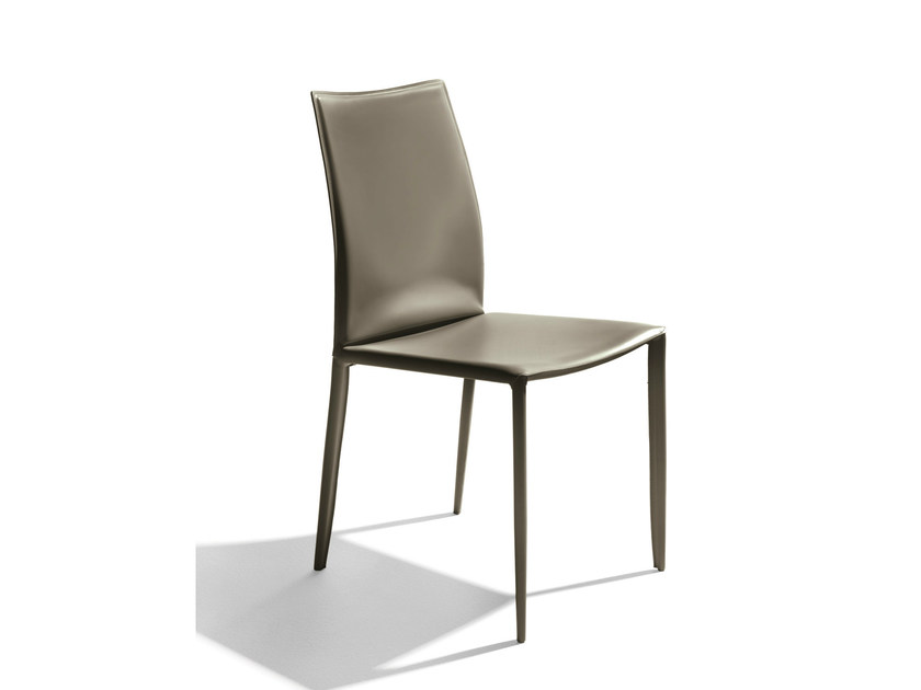 Tanned leather chair LINDA | Chair by Bontempi