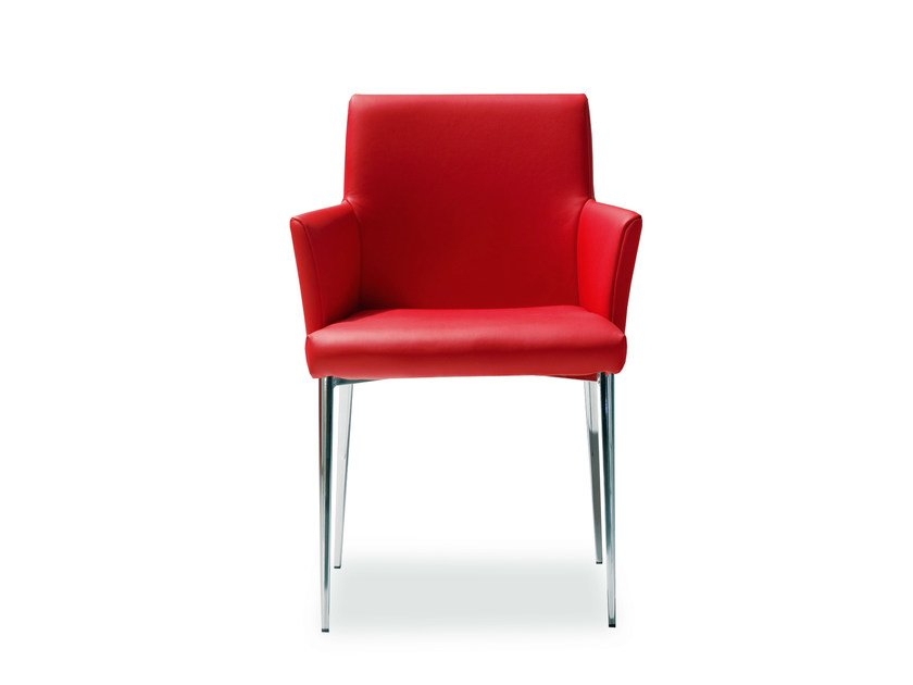 Upholstered leather chair MILA | Chair with armrests by Bontempi