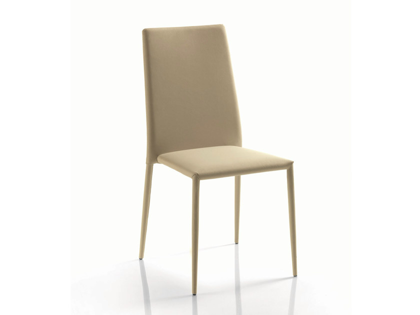 Upholstered tanned leather chair MALIK by Bontempi