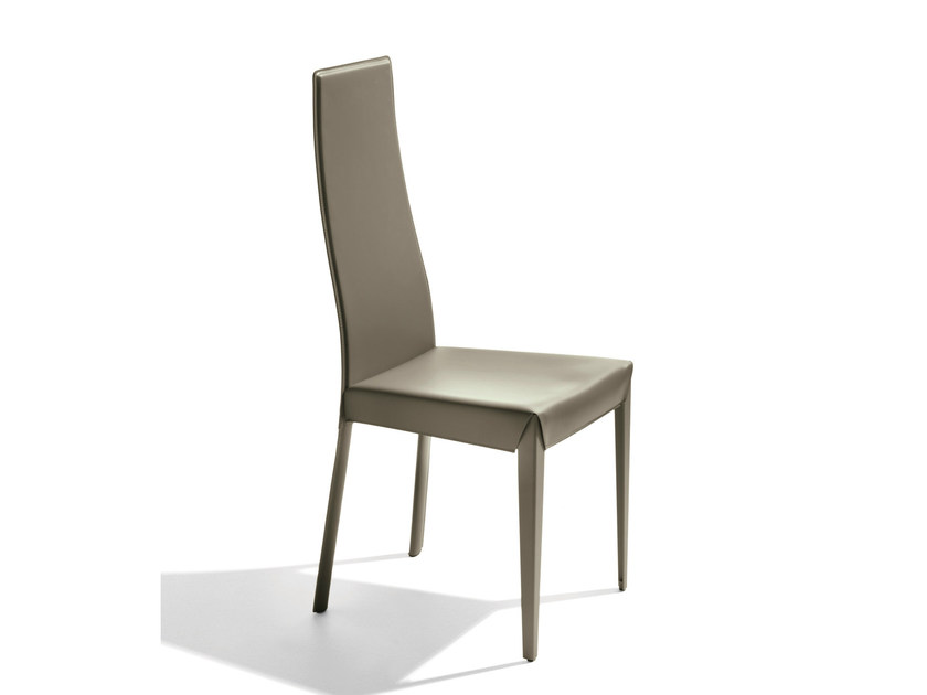 Upholstered high-back tanned leather chair NASH by Bontempi