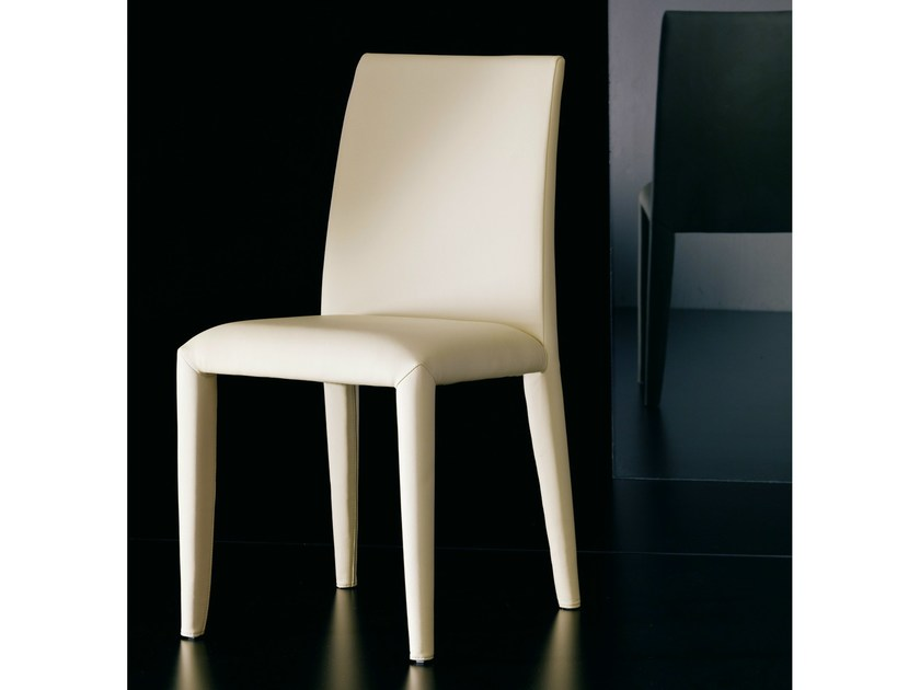 Upholstered leather chair SOFIA by Bontempi