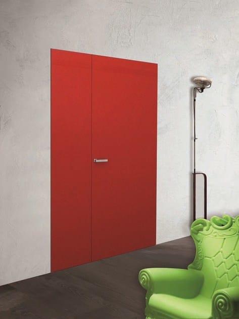 ESSENTIAL | Porta a battente Porta a filo muro - Essential battente rossa Segnale laccato lucido