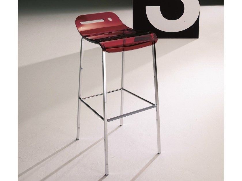 High methacrylate stool with footrest OPEN by Bontempi