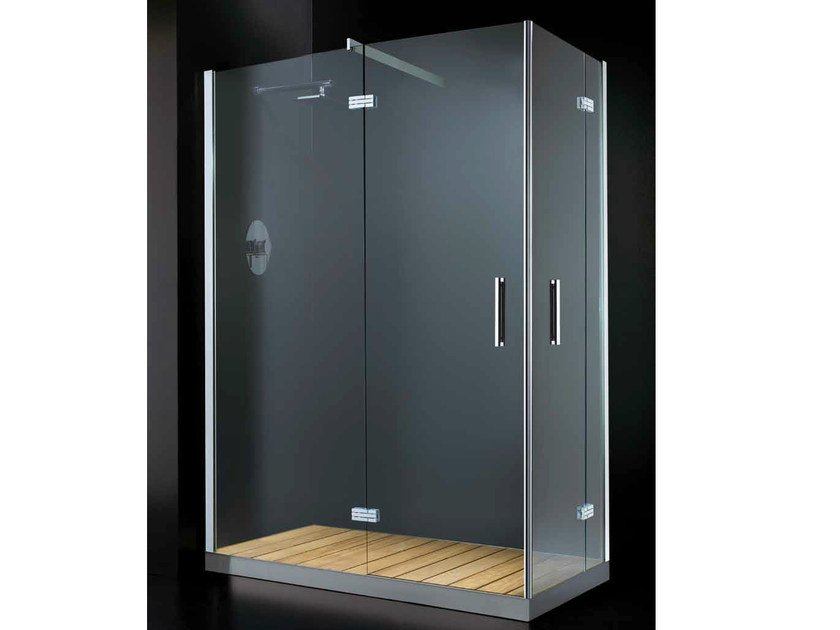 Corner rectangular shower cabin with hinged door ELITE A09 by RARE