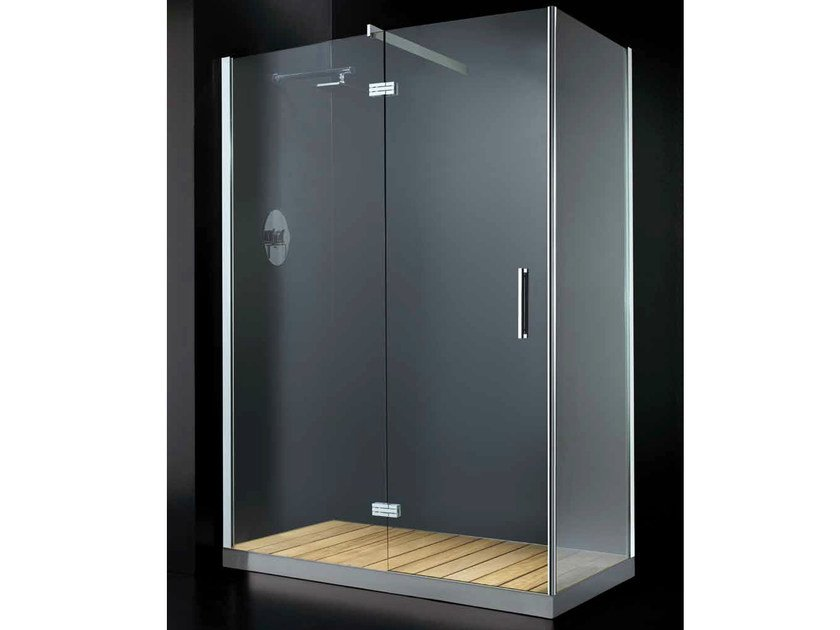 Corner glass shower cabin with hinged door with tray ELITE A11 by RARE