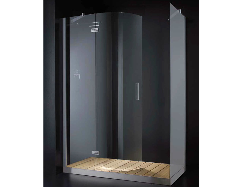 Rectangular glass shower cabin with hinged door with tray ELITE R02 by RARE