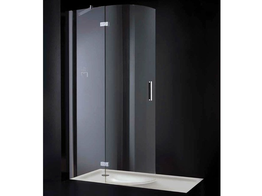 Rectangular glass shower cabin with hinged door OPEN SPACE R01 by RARE