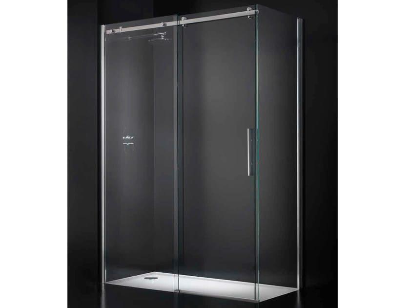 Corner crystal shower cabin with sliding door ESSENZA G12 by RARE