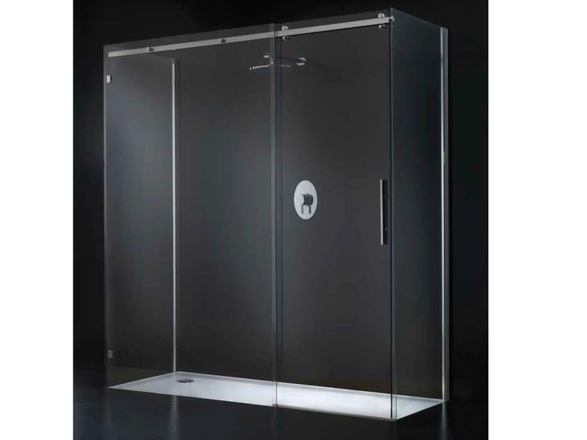 Rectangular glass shower cabin with sliding door ESSENZA G14 by RARE