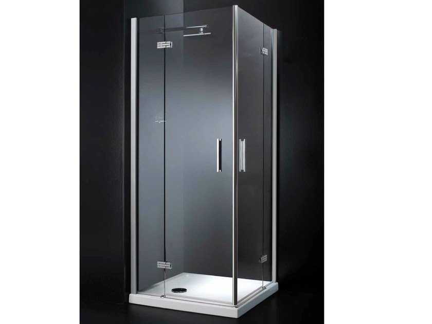 Corner crystal shower cabin with hinged door RETTANGOLO A09 by RARE
