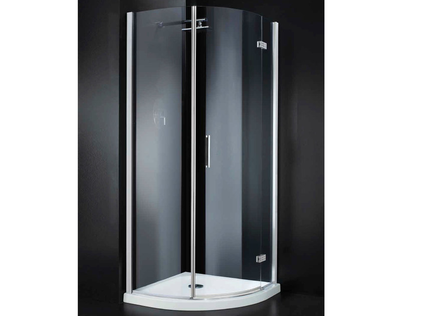 Corner semicircular crystal shower cabin with hinged door RETTANGOLO A10 790 by RARE