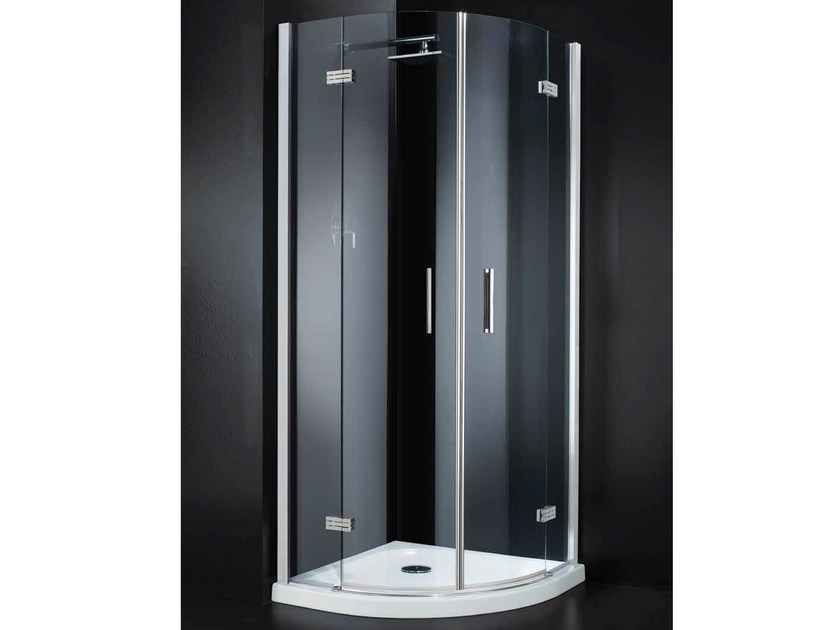 Corner semicircular crystal shower cabin with hinged door RETTANGOLO A10 by RARE