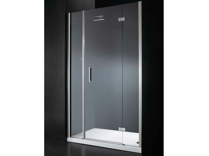 Niche rectangular crystal shower cabin with hinged door RETTANGOLO B09 by RARE