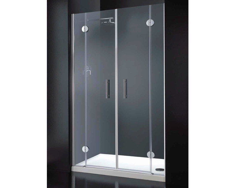 Niche rectangular crystal shower cabin with hinged door LIGHT B10 by RARE