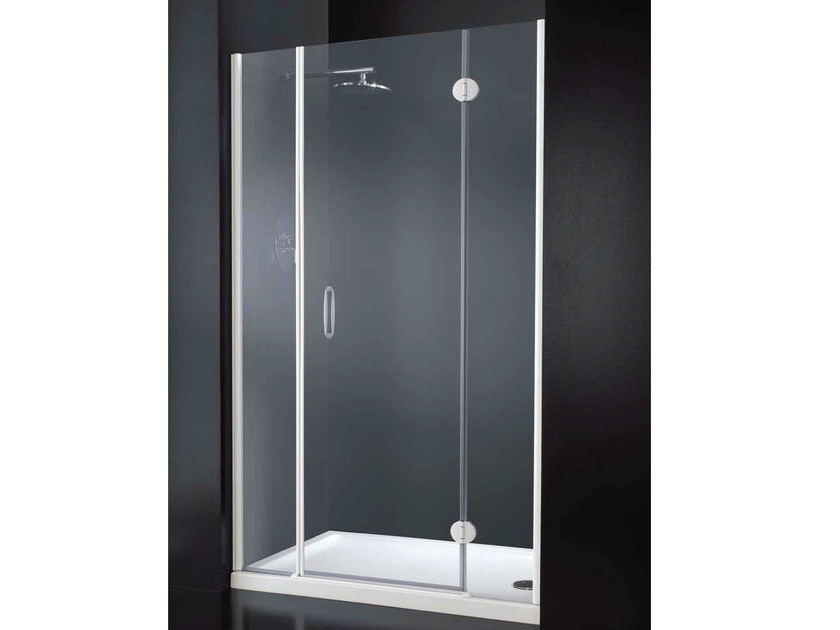 Niche rectangular crystal shower cabin with hinged door LIGHT B09 by RARE