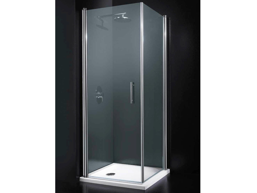 Corner tempered glass shower cabin with hinged door SEGNO A11 by RARE