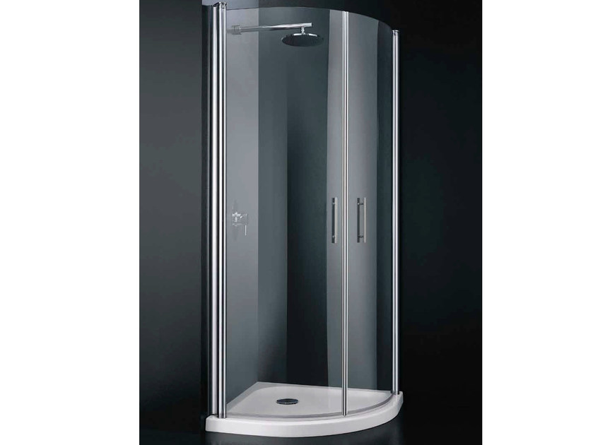 Corner semicircular tempered glass shower cabin with hinged door SEGNO A08 by RARE