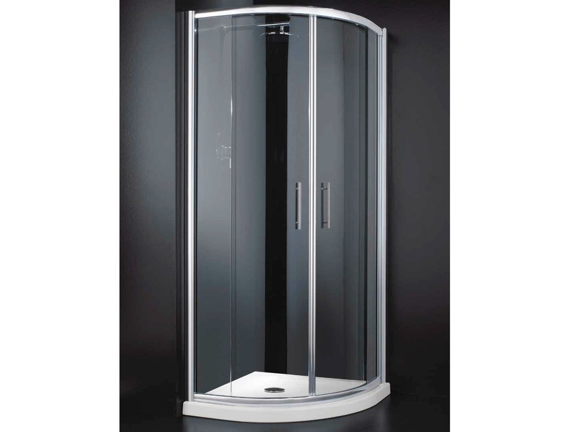 Corner semicircular glass shower cabin with sliding door INN A06 by RARE