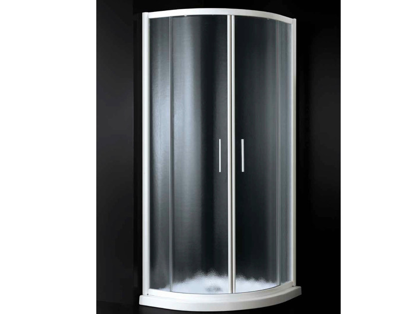 Corner semicircular shower cabin with sliding door GLASS A06 by RARE