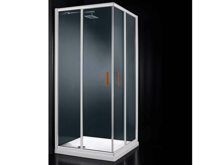 Corner glass shower cabin with sliding door GLASS A01 COLOURS by RARE