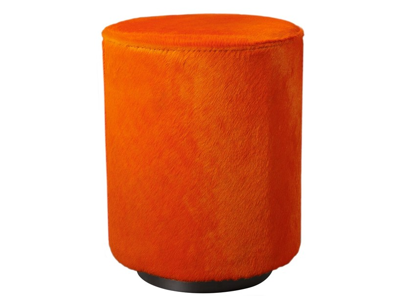 Upholstered cowhide pouf ALY | Pouf by AZEA