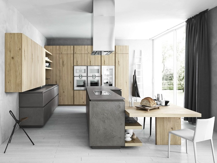 Fitted kitchen with island without handles CLOE - COMPOSITION 2 by Cesar Arredamenti
