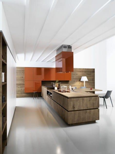Cucina componibile in rovere senza maniglie cloe - Cucina senza maniglie ...