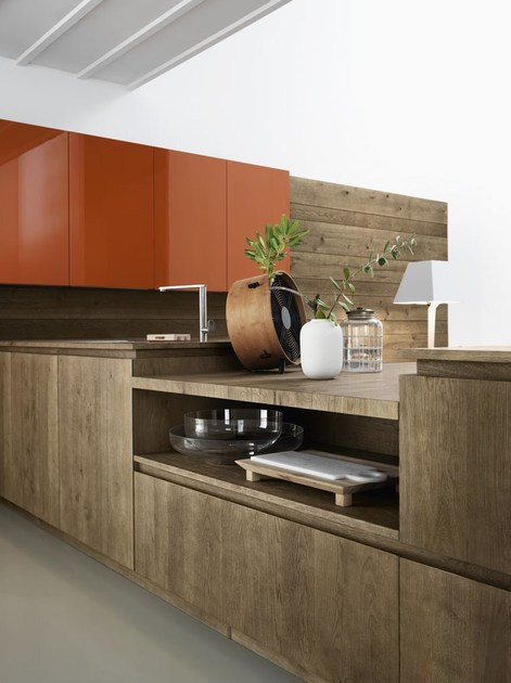 Oak fitted kitchen without handles cloe composition 3 by for Oak arredamenti