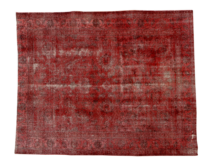 Vintage style handmade rectangular rug DECOLORIZED RED by Golran