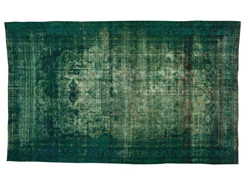 Vintage style handmade rectangular rug DECOLORIZED TURQUOISE by Golran