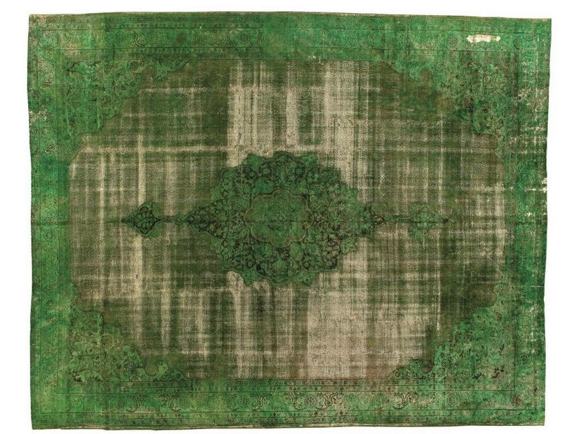 Vintage style rectangular rug DECOLORIZED GREEN by Golran