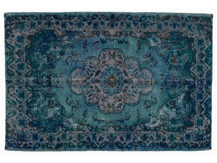 Vintage style handmade rectangular rug DECOLORIZED BLUE by Golran