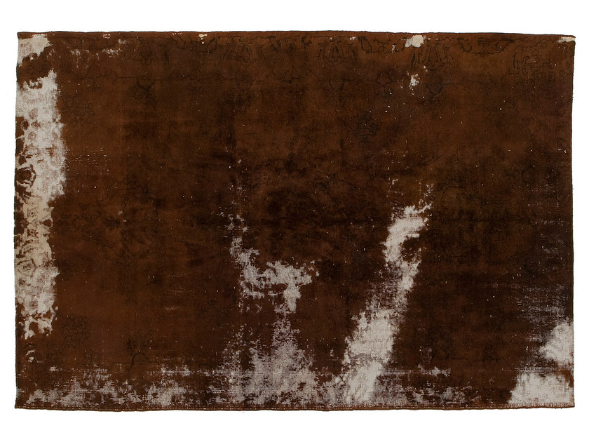 Vintage style handmade rectangular rug DECOLORIZED BROWN by Golran