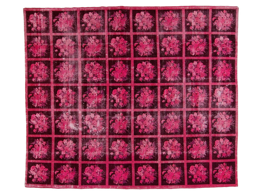 Vintage style handmade rectangular rug DECOLORIZED PINK by Golran