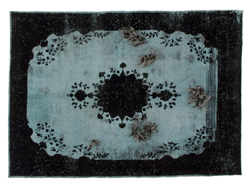 Vintage style patterned handmade rectangular rug DECOLORIZED MOHAIR BLACK by Golran