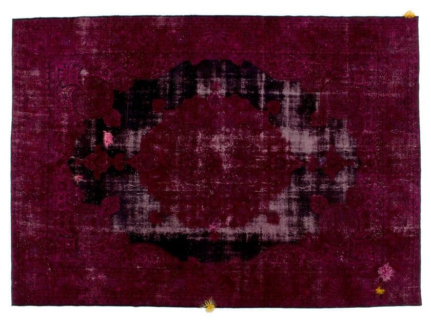 Vintage style handmade rectangular rug DECOLORIZED MOHAIR WINE by Golran