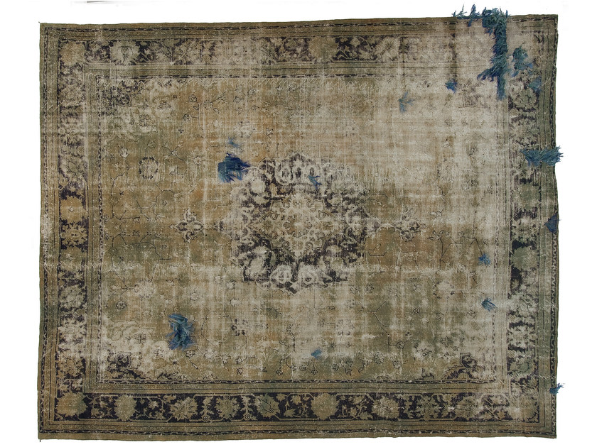 Vintage style handmade rectangular rug DECOLORIZED MOHAIR AQUA by Golran