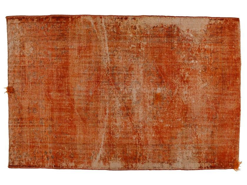 Vintage style handmade rectangular rug DECOLORIZED MOHAIR ORANGE by Golran