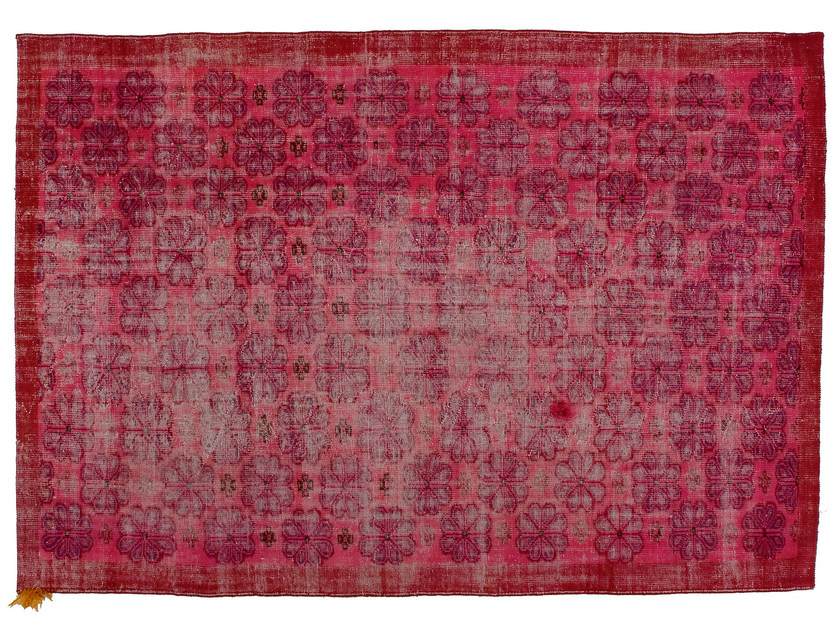 Vintage style handmade rectangular rug DECOLORIZED MOHAIR PINK by Golran