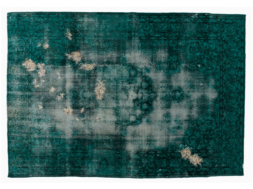 Vintage style handmade rectangular rug DECOLORIZED MOHAIR TURQUOISE by Golran