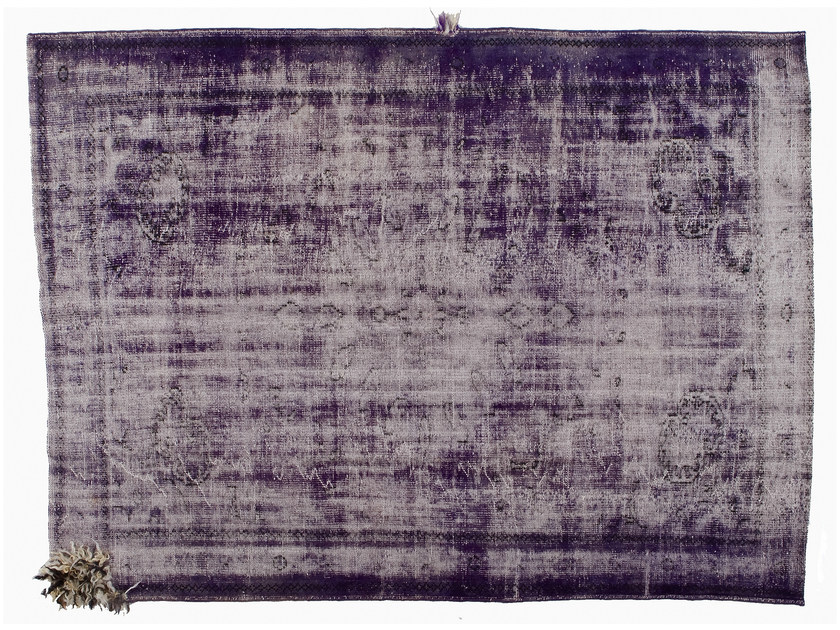 Vintage style handmade rectangular rug DECOLORIZED MOHAIR PURPLE by Golran