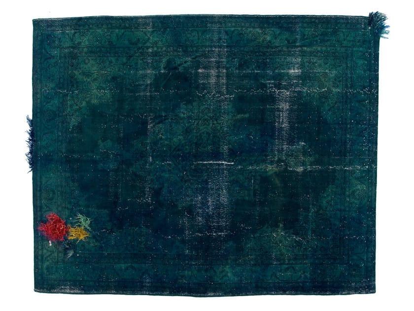 Vintage style handmade rectangular rug DECOLORIZED MOHAIR BLUE by Golran