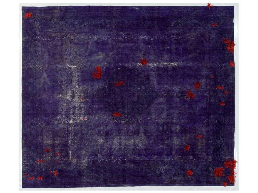 Vintage style handmade rectangular rug DECOLORIZED MOHAIR DARK PURPLE by Golran