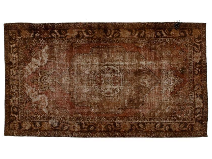 Vintage style handmade rectangular rug DECOLORIZED MOHAIR BROWN by Golran